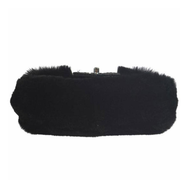 Chanel Classic Flap Rare Vintage Orylag Black and Grey Tweed Fur Cross Body Bag In Good Condition For Sale In Miami, FL