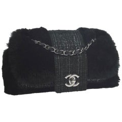 Chanel Classic Flap Rare Vintage Orylag Black and Grey Tweed Fur Cross Body Bag