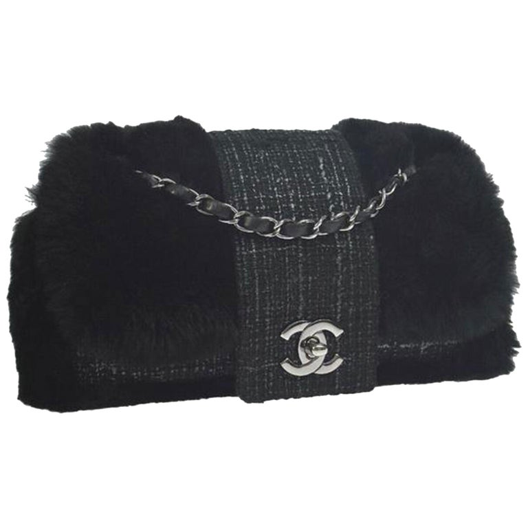 Chanel Classic Flap Rare Vintage Orylag Black and Grey Tweed Fur Cross Body Bag For Sale