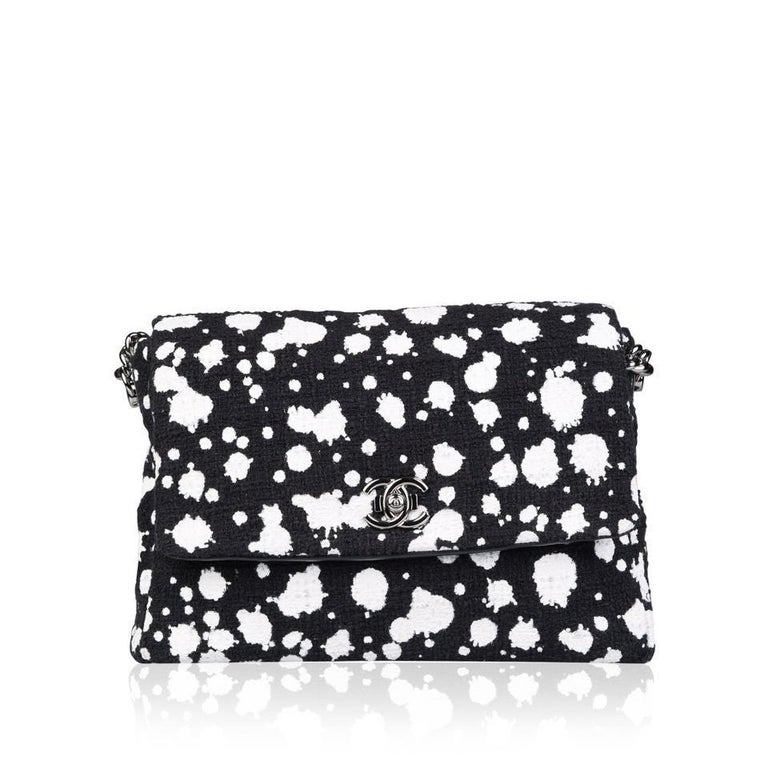 Women's Chanel Classic Flap Rare White Limited Edition Paint Black Tweed Shoulder Bag For Sale
