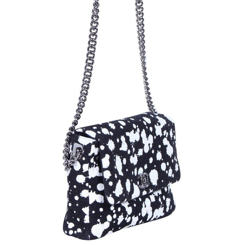 Chanel Classic Flap Rare White Limited Edition Paint Black Tweed Shoulder Bag For Sale 1