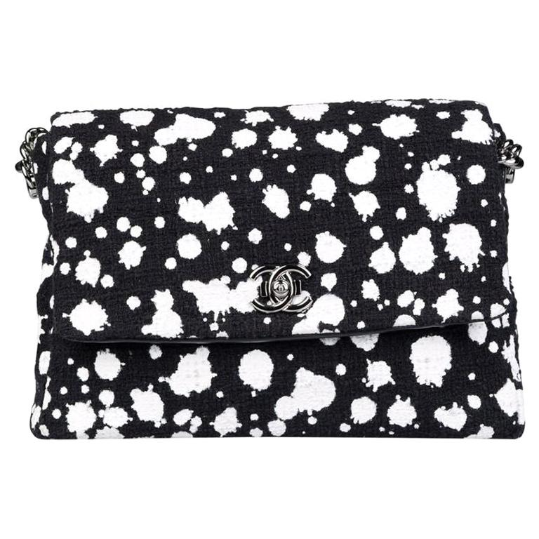 Chanel Classic Flap Rare White Limited Edition Paint Black Tweed Shoulder Bag For Sale