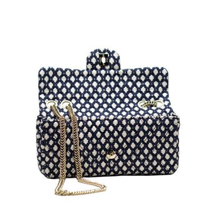 Black Chanel Classic Flap Resort Blue and White Cotton Blend Shoulder Bag For Sale
