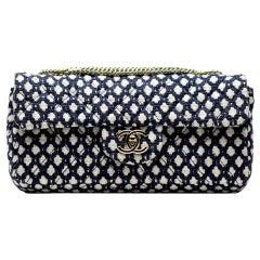 Chanel Classic Flap Resort Blue and White Cotton Blend Shoulder Bag