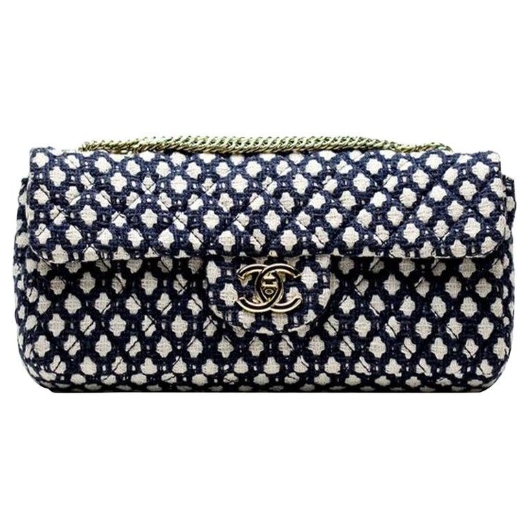 Chanel Classic Flap Resort Blue and White Cotton Blend Shoulder Bag For Sale