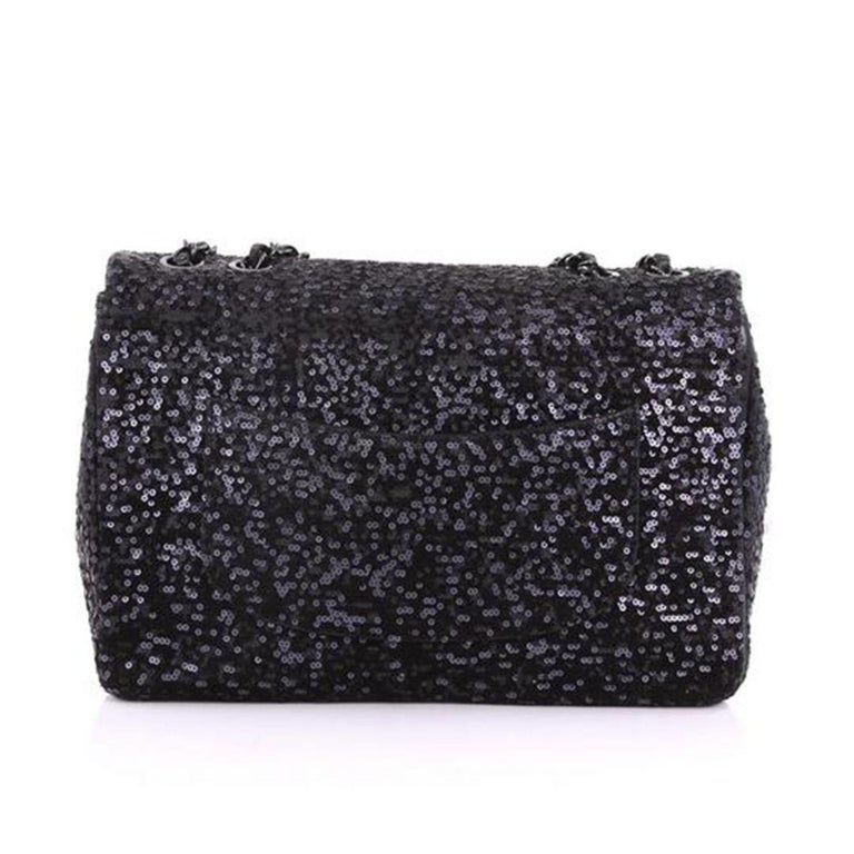 Chanel Classic Flap So Classic Jumbo Maxi Black Sequins Shoulder Bag In Good Condition For Sale In Miami, FL