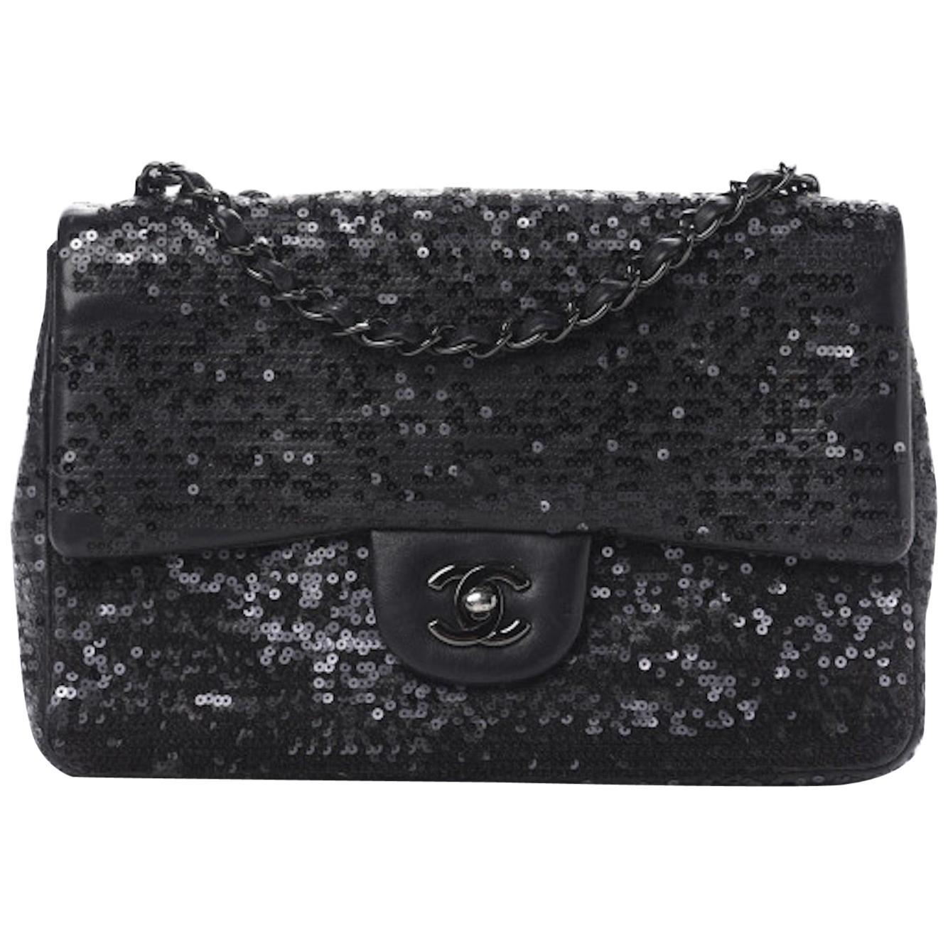 Chanel Classic Flap So Classic Jumbo Maxi Black Sequins Shoulder Bag