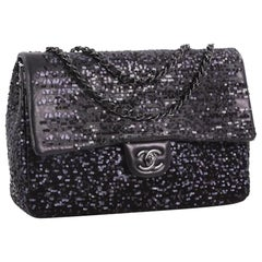 Chanel Classic Flap So Classic Jumbo Maxi Black Sequins Shoulder Bag