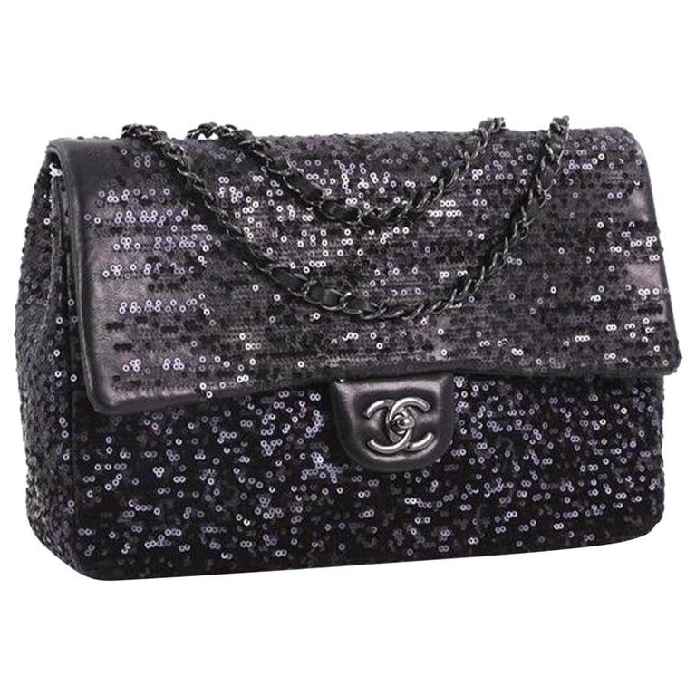 Chanel Classic Flap So Classic Jumbo Maxi Black Sequins Shoulder Bag For Sale