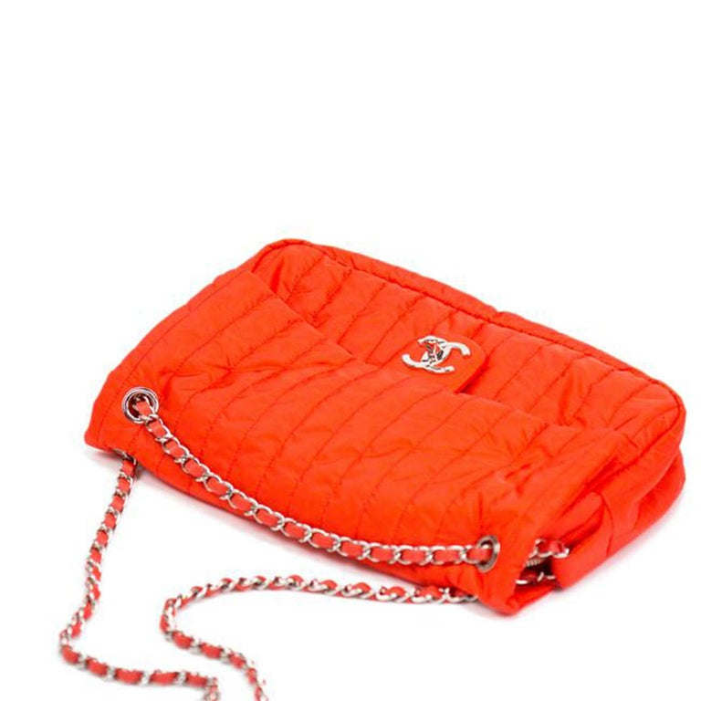 Red Chanel Classic Flap Soft Shell Vertical Quilted Jumbo Orange Nylon Shoulder Bag For Sale