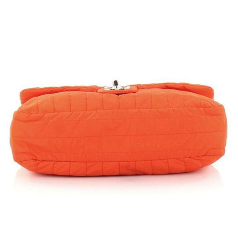 Chanel Classic Flap Soft Shell Vertical Quilted Jumbo Orange Nylon Shoulder Bag In Good Condition For Sale In Miami, FL