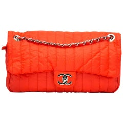 Chanel Classic Flap Soft Shell Vertical Quilted Jumbo Orange Nylon Shoulder Bag