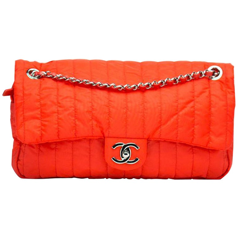 Chanel Classic Flap Soft Shell Vertical Quilted Jumbo Orange Nylon Shoulder Bag For Sale