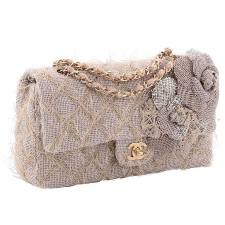 Chanel Classic Flap Straw Camelia Nude Beige Jute Raffia Tweed Rope Shoulder Bag For Sale 1