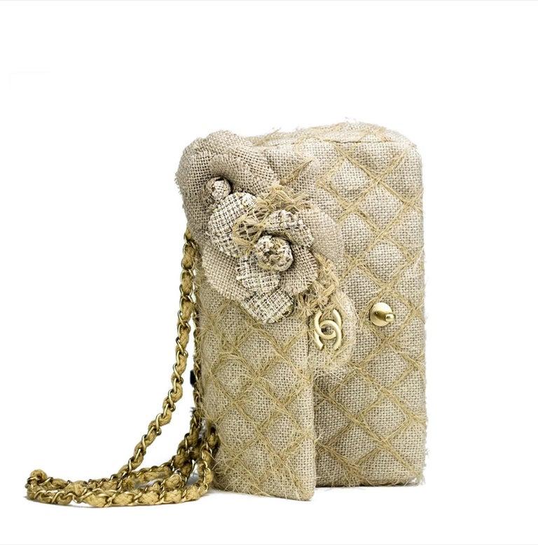 Chanel Classic Flap Straw Camelia Nude Beige Jute Raffia Tweed Rope Shoulder Bag For Sale 3