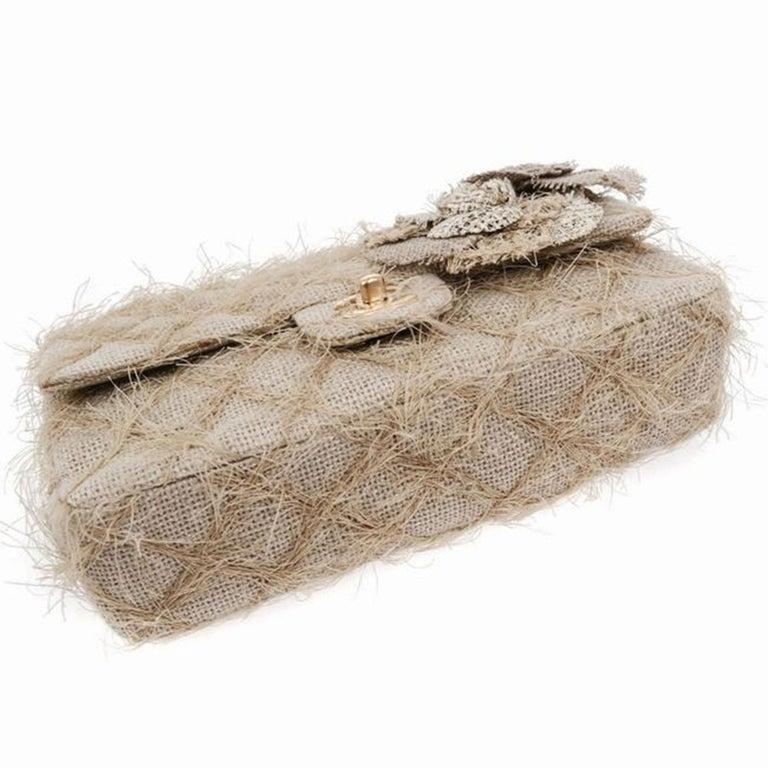 Chanel Classic Flap Straw Camelia Nude Beige Jute Raffia Tweed Rope Shoulder Bag For Sale 5