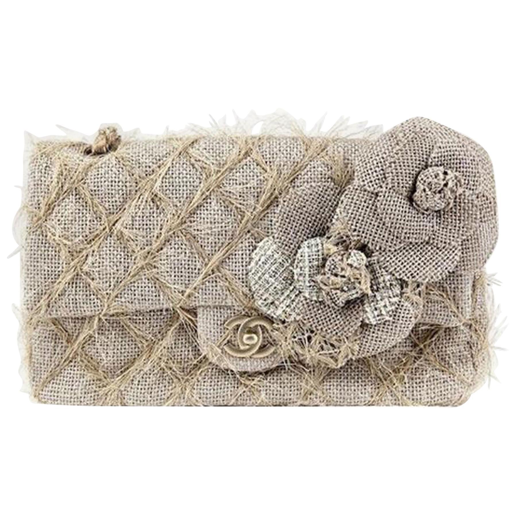 Chanel Classic Flap Straw Camelia Nude Beige Jute Raffia Tweed Rope Shoulder Bag