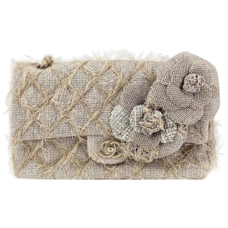 Chanel Classic Flap Straw Camelia Nude Beige Jute Raffia Tweed Rope Shoulder Bag For Sale