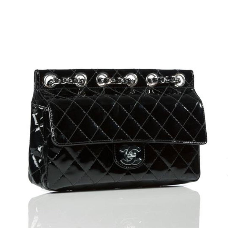 Chanel Classic Flap Supermodel Super Rare Quilted Black Patent Leather Bag For Sale 3