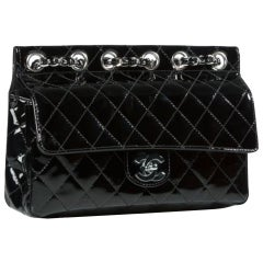 Chanel Classic Flap Supermodel Super Rare Quilted Black Patent Leather Bag