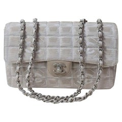 Chanel Classic Flap Travel Line Cc Logo Jacquard 7137 Beige Nylon Shoulder Bag