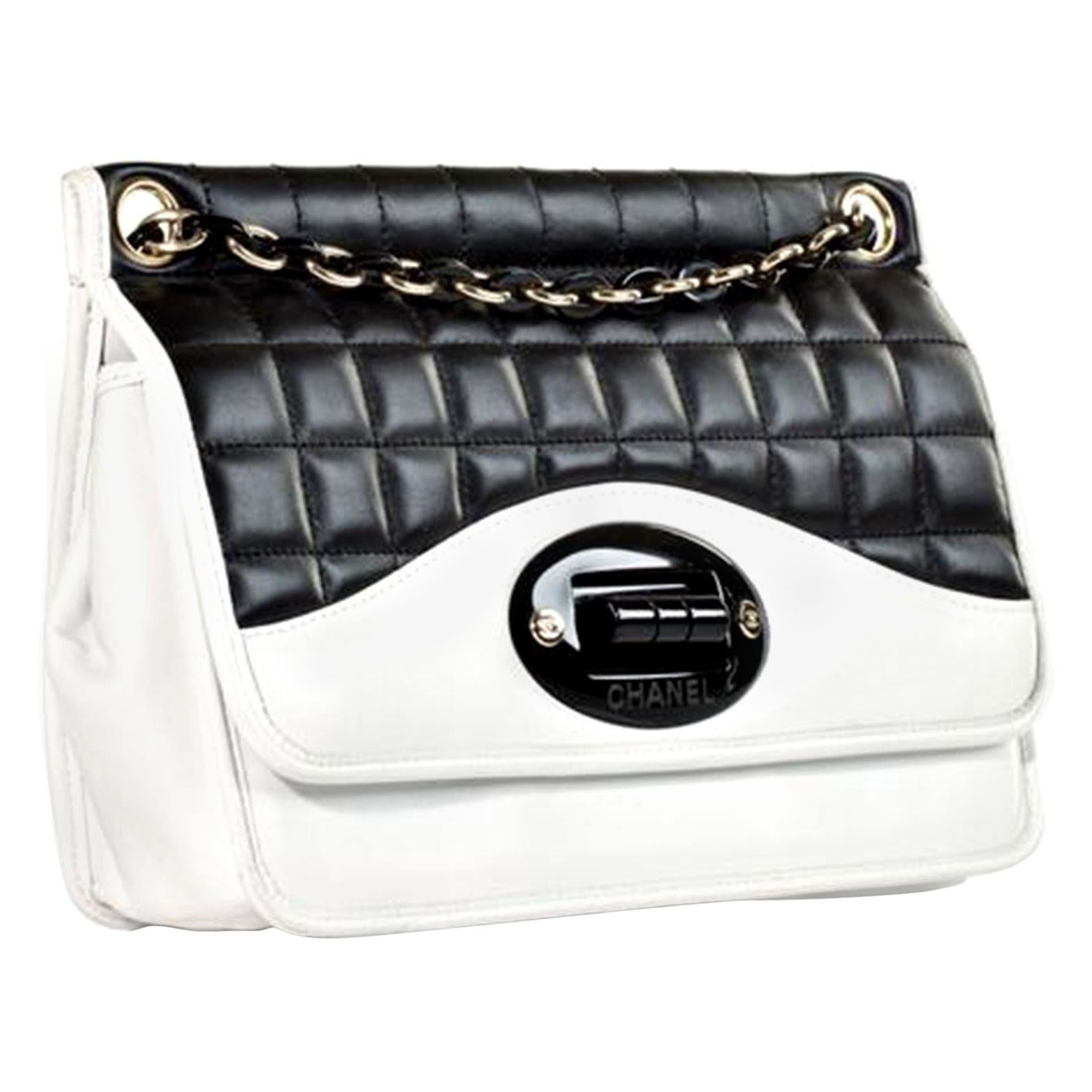 Chanel Classic Flap Two Tone Limited Edition Black & White Lambskin Leather Bag