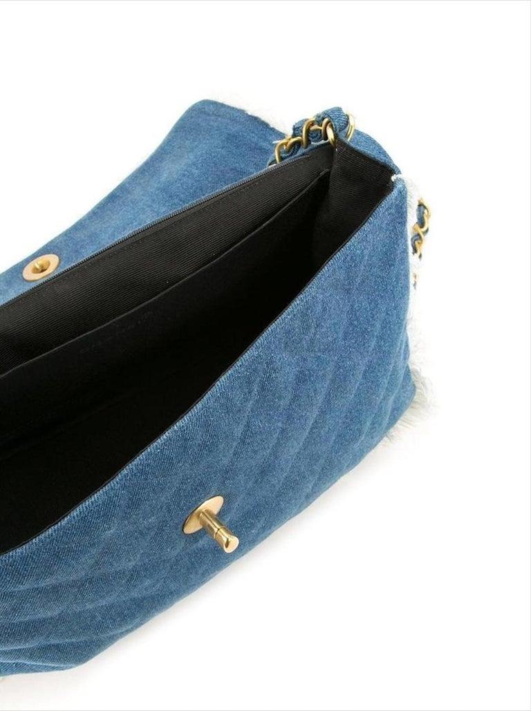 Chanel Classic Flap Vintage Fringe Quilted Jumbo Maxi Jean Blue Denim Bag For Sale 2