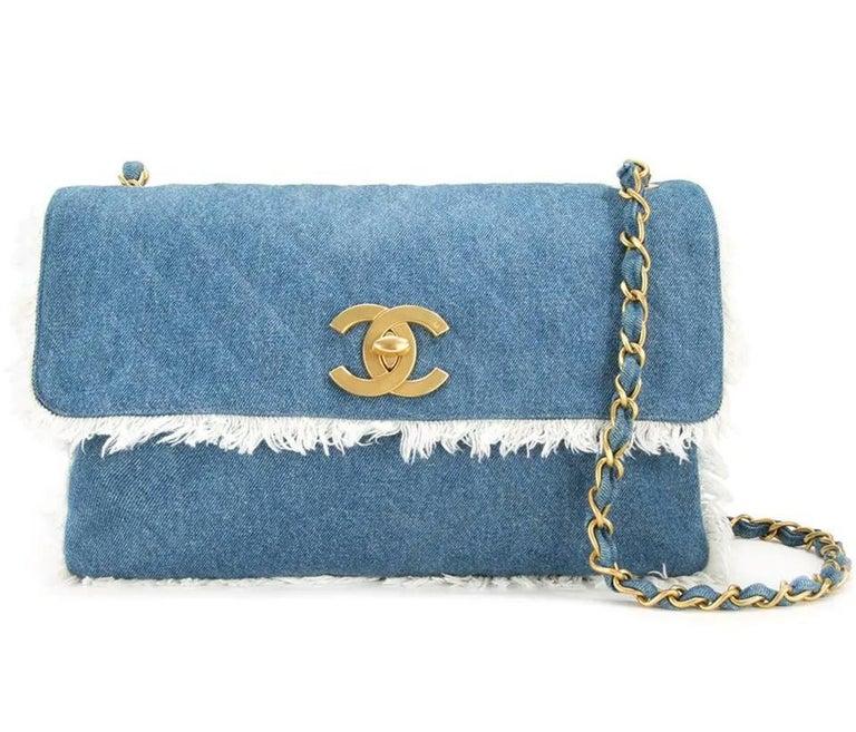 Chanel Classic Flap Vintage Fringe Quilted Jumbo Maxi Jean Blue Denim Bag For Sale 3