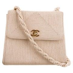 Chanel Classic Flap Vintage Woven Organic Nude Beige Raffia Cloth Blend Bag