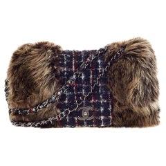 Chanel Classic Flap XL And Maxi Jumbo Multicolor Faux Fur Tweed Shoulder Bag