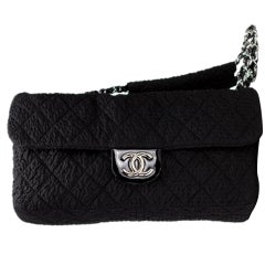 Chanel Classic Flap XL Large Plush Textured Black Microfiber Nylon Shoulder Bag