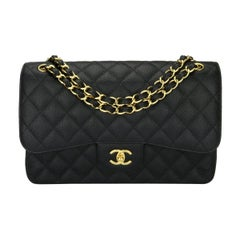 CHANEL Classic Jumbo Double Flap Bag Black Caviar with Gold Hardware 2016