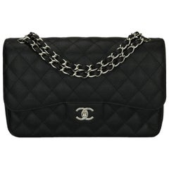 CHANEL Classic Jumbo Double Flap Bag Black Caviar with Silver Hardware 2011