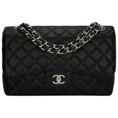 CHANEL Classic Jumbo Double Flap Bag Black Caviar with Silver Hardware 2013