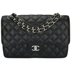 CHANEL Classic Jumbo Double Flap Bag Black Caviar with Silver Hardware 2014