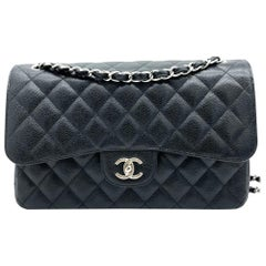 Chanel Classic Jumbo Double Flap - Black Caviar leather Silver hardware
