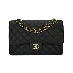 CHANEL Classic Jumbo Double Flap Black Caviar with Gold Hardware 2012