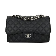 CHANEL Classic Jumbo Double Flap Black Caviar with Silver Hardware 2011