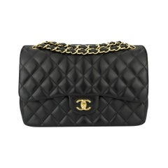 CHANEL Classic Jumbo Double Flap Black Lambskin with Gold Hardware 2013