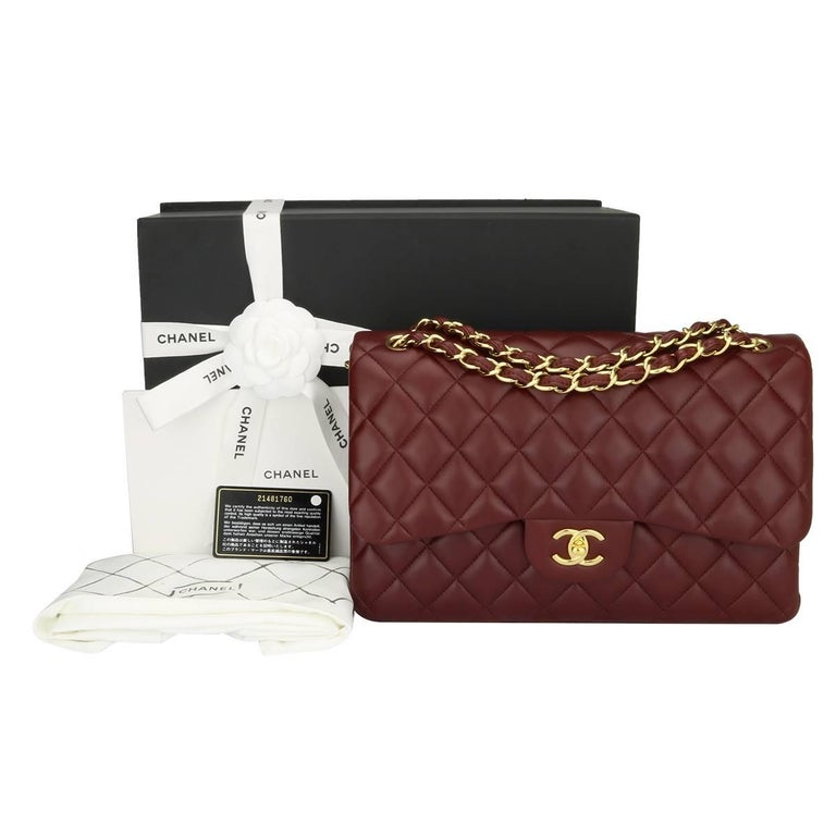 02303d0c59c1 CHANEL Classic Jumbo Double Flap Burgundy Lambskin with Gold Hardware 2015.  For Sale 14