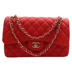 Chanel Classic Large Coral Red Quilted Caviar Leather Double Flap Bag A58600