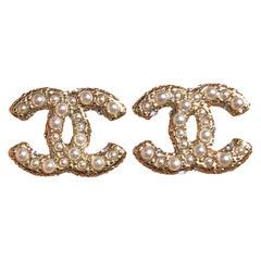Chanel Classic Light Gold Tone Pearl CC Stud Earrings