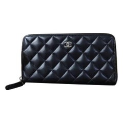 Chanel Classic Long Zipped Black Wallet