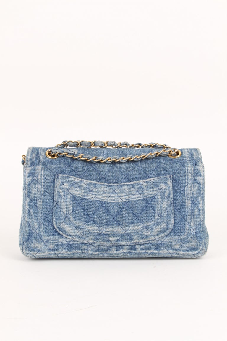 Chanel Classic Medium Denim Double Flap Bag  In Good Condition For Sale In Baarn, NL