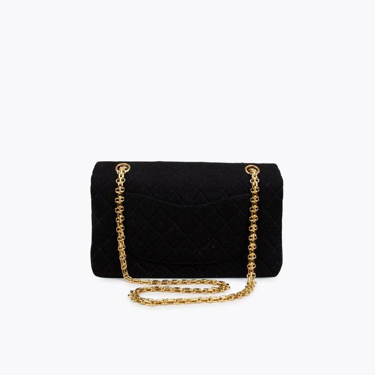 Black Chanel Classic Medium Jersey Double Flap Bag