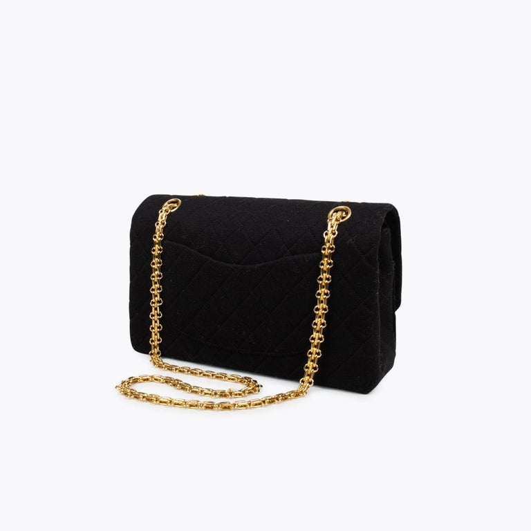 Chanel Classic Medium Jersey Double Flap Bag In Excellent Condition In Sundbyberg, SE