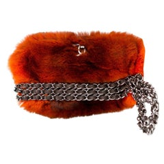 Chanel Classic Ombre Chain Around Flap Orange Fur Baguette