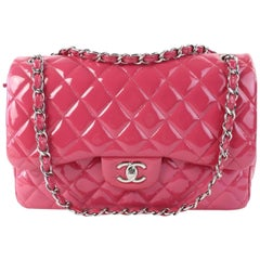 Chanel Classic Quilted Jumbo Flap 01cz0720 Dark Pink Patent Leather Shoulder Bag
