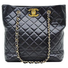 Chanel Classic Quilted Shopper Black Vintage