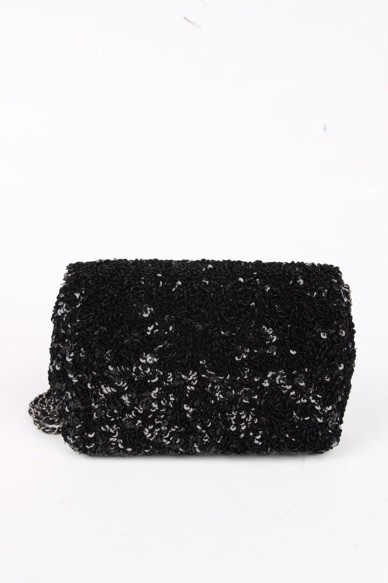 Black Chanel Classic Sequin Flap Bag - black For Sale